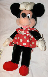 """Genuine Disney Store Minnie Mouse 17"""" Plush Collectable Free Shipping U.S.A."""