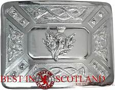 Small Thistle Belt Buckle - Silver Thistle Belt Buckle