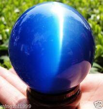 60MM + STAND Hot SEll ASIAN QUARTZ BLUE CAT EYE CRYSTAL BALL SPHERE