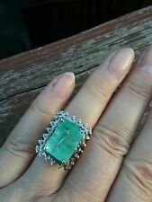 Real 925 Silver 15.38 CT CZ Columbian Emerald Stunning Engagement Cocktail Ring
