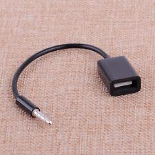 Black Car 3.5mm MP3 AUX Audio Plug Jack To USB 2.0 Female Converter Cord Cable