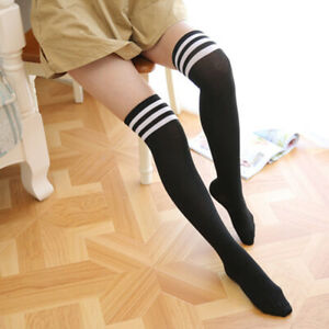 Women Ladies Over Knee Thigh High Sexy Long Summer Stripe Cotton Stocking Sock