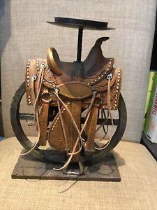 "Tea Light Candle Holder Western Saddle Wagon Wheel 10.5"" Tall"