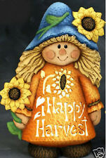 Ceramic Bisque Ready to Paint Scarecrow Girl Happy Harvest lights