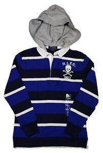 Polo Ralph Lauren Boys Royal Multi Striped Skull Hooded Rugby Polo Shirt