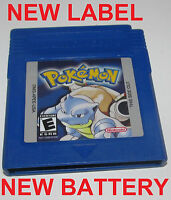 Pokemon Blue Version w/ New Save Battery & Label Nintendo GameBoy