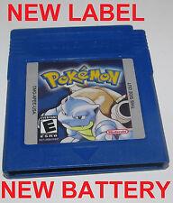 Pokemon Blue Version w/ New Save Battery & Label Nintendo GameBoy