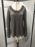 PLANET GREY CASHMERE ANGORA WOOL BLEND SPARKLY KNIT GEMSTONE CARDIGAN XL