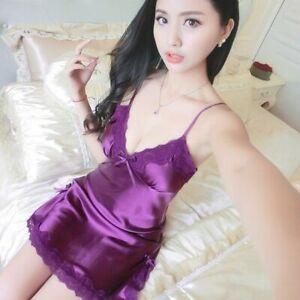 Nightdress Deep V Lace Sleepwear Lingerie Silk Nightgown Sleeveless Nightwear