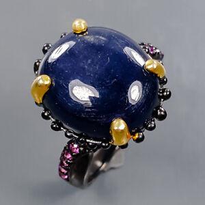 Handmade Ring Black Star Sapphire Ring Silver 925 Sterling  Size 8.5 /R178602