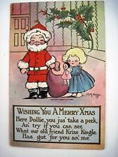 "1908 ""M.G.Hays"" Christmas Post Card w/Little Girl, Kriss Kingle & Doll - Used *"