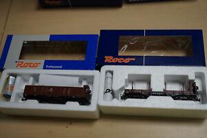H0e Roco 34528 off. Güterwagen m. BH + 34530 Rungenwagen DR - Unbespielt in OVP