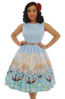 Audrey Venice Gondola 10- 16 Lindy Bop Swing Print Dress Pinup Light Blue