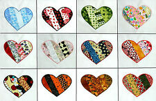 {12} Appliqued Monthly Holiday Heart Quilt Blocks ~ Block of the Month ~ 10""