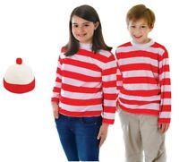 Red & White Striped Top With Hat Where's Wally Wenda Costume - Small