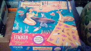 "1990s Disney Jigsaw Sticker Puzzle Pocahontas 11 1/2"" x 15"" (70 pc) indian deer"