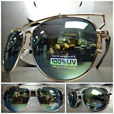 CLASSIC VINTAGE Cool 80's RETRO Style SUNGLASSES Gold & Black Frame Mirror Lens