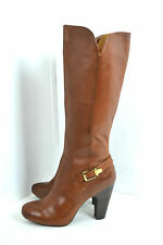 """NEW SOFFT BROWN GENUINE LEATHER BOOTS SIZE 11 M 4.5"""" HIGH HEELS"""