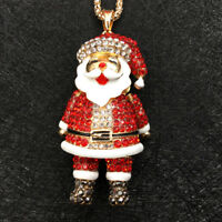 Gold Plated Red Crystal Smile 3D Santa Claus Christmas Pendant Necklace Chain