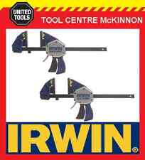 "2 x IRWIN QUICK-GRIP XP 18"" / 450mm ONE HANDED BAR CLAMP – 272kg CLAMPING FORCE"
