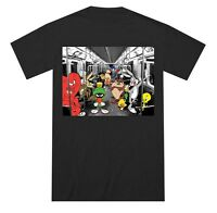 Looney Tunes Cast on Subway Black Men's T-Shirt New