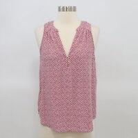 Joie Tank Top Blouse Womens Silk Red White Print XS Split V-Neck Cinnamon Rose