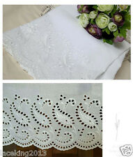 """1y Broderie Anglaise Embroidery cotton lace  White 24"""" (60cm) ameba laceking2013"""