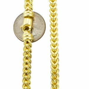 """10K Yellow Gold 1.5mm-6mm Square Wheat Box Franco Chain Pendant Necklace 16""""-40"""""""