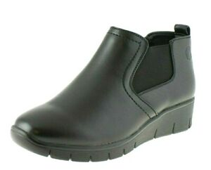 NEW LADIES WOMENS SHORT WINTER BOOTS BLACK CHELSEA WEDGE WARM WORK LINED SHOES