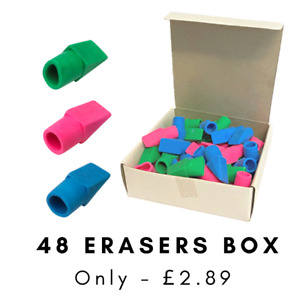 48 x Pencil Top Erasers Rubbers Angled Tips Assorted Good Value Pencil Toppers