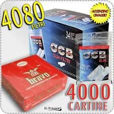 4080 FILTRI OCB SLIM 6 mm BOX 34 BUSTINE + 4000 Cartine BRAVO REX CORTE 100 Pz.