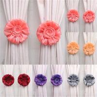 2pcs Voile Drape Clip-on Tie Holder Home Decor Rose Flower Window Curtain