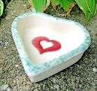 Hartstone Pottery Little Heart Candle Holder Dish, Red heart rose