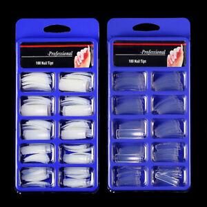 100Pcs False Long French Nail Tips Fake Nails Art Acrylic Nail Gel White Clear