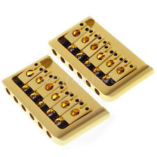 2 Sets Gold 6 String Electric Guitar Fixed Hardtail Bridge Height Adjustable