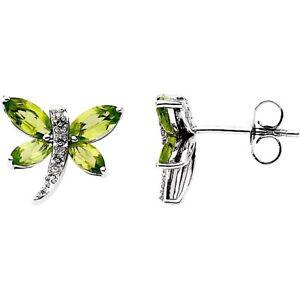 Dragonfly Peridot Diamond Earrings Genuine 14K White Gold August Birthstone