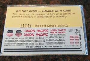 Herald King HO Decals UP UNION PACIFIC Z-480 Trailer Decals Sealed