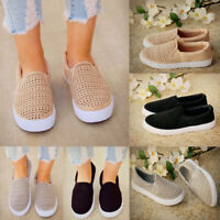 Womens Slip On Geometric Sneakers Pump Ladies Casual Perforated Flats Shoes Size