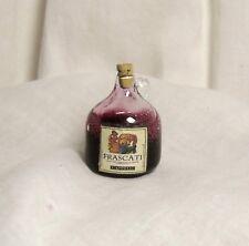 NEW DOLLHOUSE GLASS DEMIJOHN BOTTLE, RED ITALIAN WINE, ANTIQUE LABEL, CHARMING