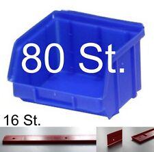 80 Stapelboxen PP Kunststoff Gr.1 blau Sichtlagerkästen inkl. 16 Wandschienen