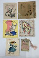 Antique Greeting Cards Lot of 6 Birthday Scrapbook Ephemera 1930's - 1950s e1