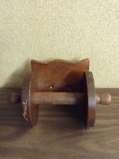 VTG SOLID HARDWOOD DARK BROWN FINISH WALL MOUNTED TOILET PAPER DISPENSER