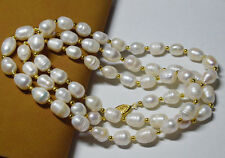 10-11mm genuine natural white rice pearl necklace 35 inches