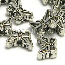 20 Small 5mm x 7mm Butterfly Beads Antique Silver Plated Over Pewter Base Metal