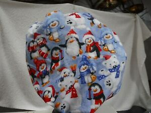 Bouffant surgical scrub hat medical chef blue penguins winter christmas holidays