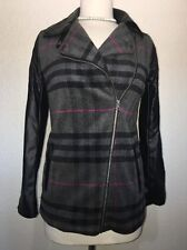 Miss London Jacket Cross Zip Front Plaid Black Gray Faux Leather Small S