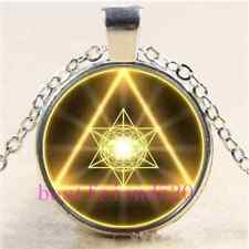 Gold Sacred Geometry Cabochon Glass Tibet Silver Chain Pendant Necklace