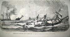 CHERBOURG NAVIRES BATAILLE NAVALE ETATS-UNIS ANGLETERRE GRAVURE JOURNAL 1872