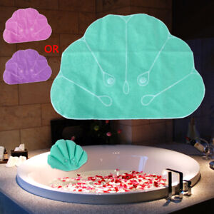Home Spa Shell Inflatable Bath Pillow Neck Cushion Terrycloth Suction Cups buy