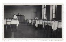 PHOTO ANCIENNE Réfectoire Restaurant Intérieur 1935 Nappe Table Chaise